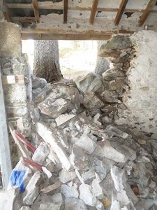 Collapsed garage wall