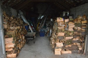 Wood piled in the garage